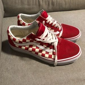 Vans Shoes Red Checkered Old Skool Poshmark